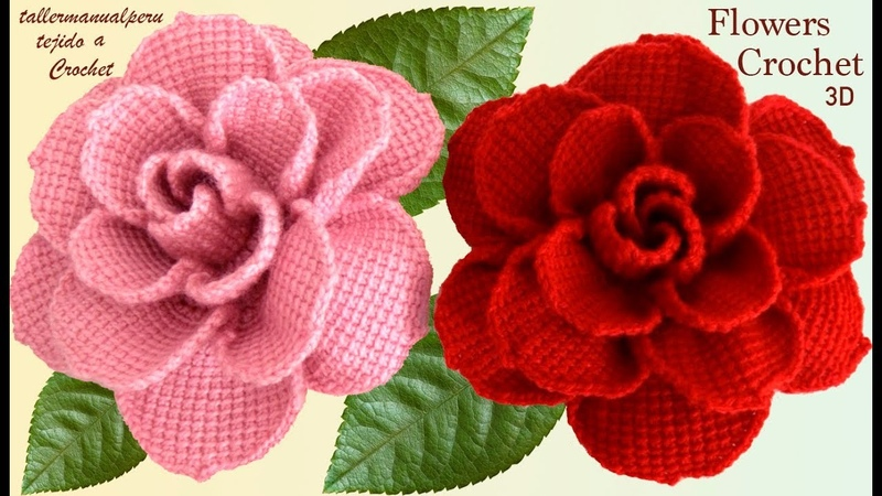 Como hacer flores rosas grandes en 3D a Crochet paso a paso tejido tallermanualperu