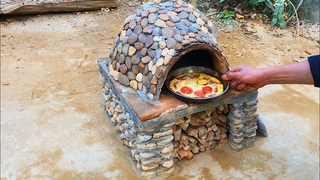 Build pizza oven from gravel and cement