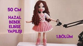 Amigurumi Hazal Bebek elbise yapılışı 1. bölüm(how to crochet doll dresses English subtitle)