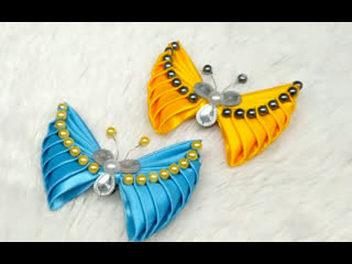 DIY - How to make butterfly with satin ribbon  Kanzashi  bros kupu-kupu