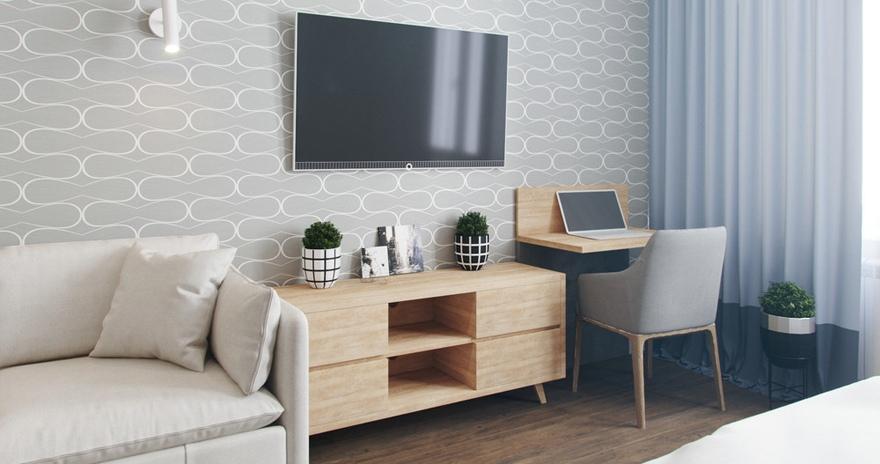 Концепт квартиры-студии 26,5 м с реечной перегородкой.