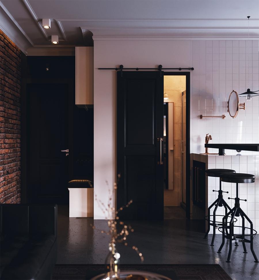 Проект квартиры-студии 46 м в индустриальном стиле.