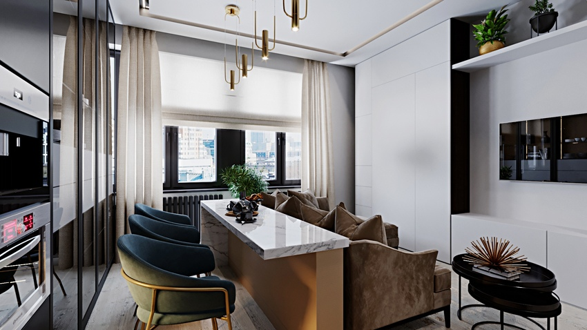 Проект квартиры-студии 31 м.