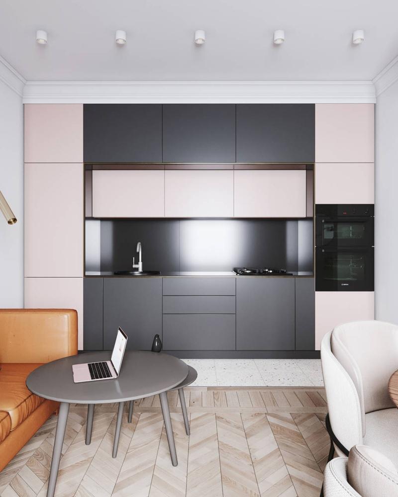 Проект современной студии из старой 1-комнатной квартиры 31 м.