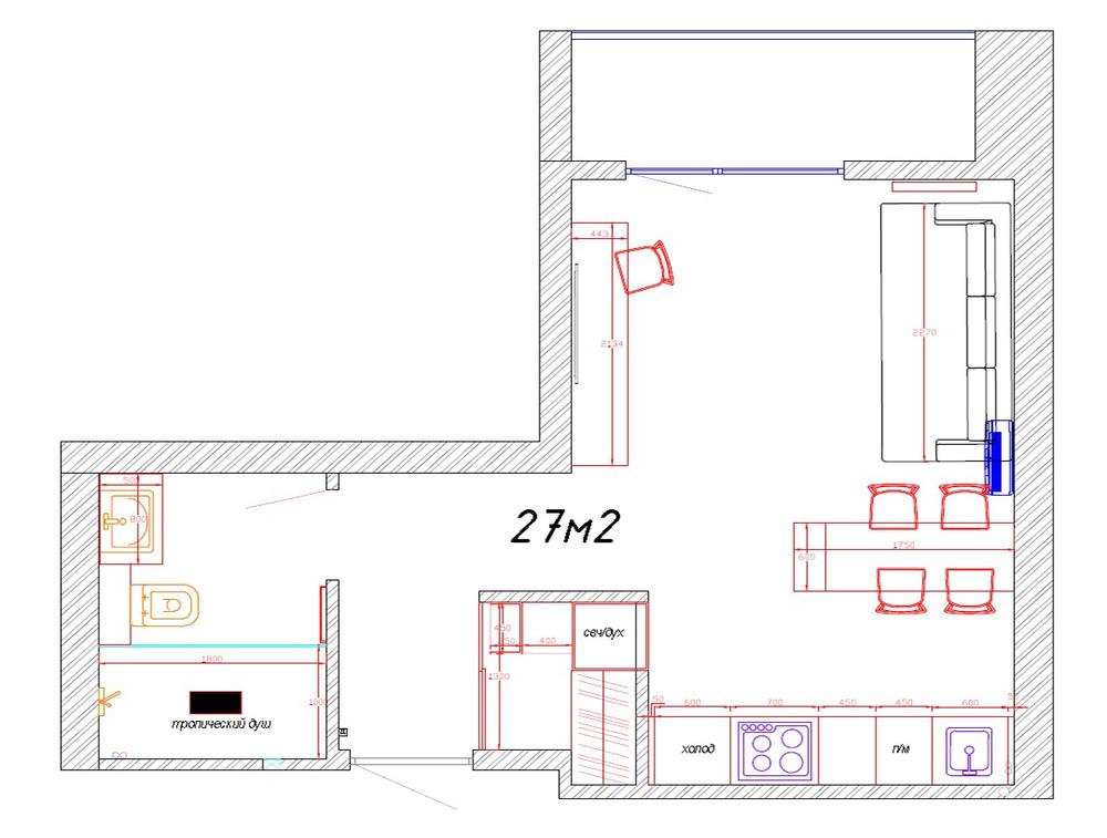 Интерьер квартиры 27 м для молодого человека.