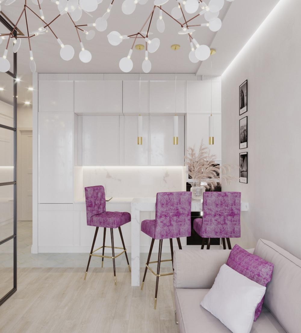 Проект квартиры 37,5 м в стиле ар-деко.