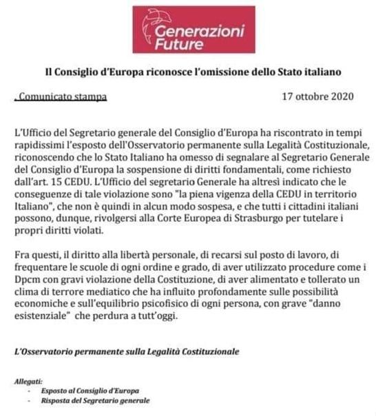 Comunicato Generazioni Future su interrogazione CEDU