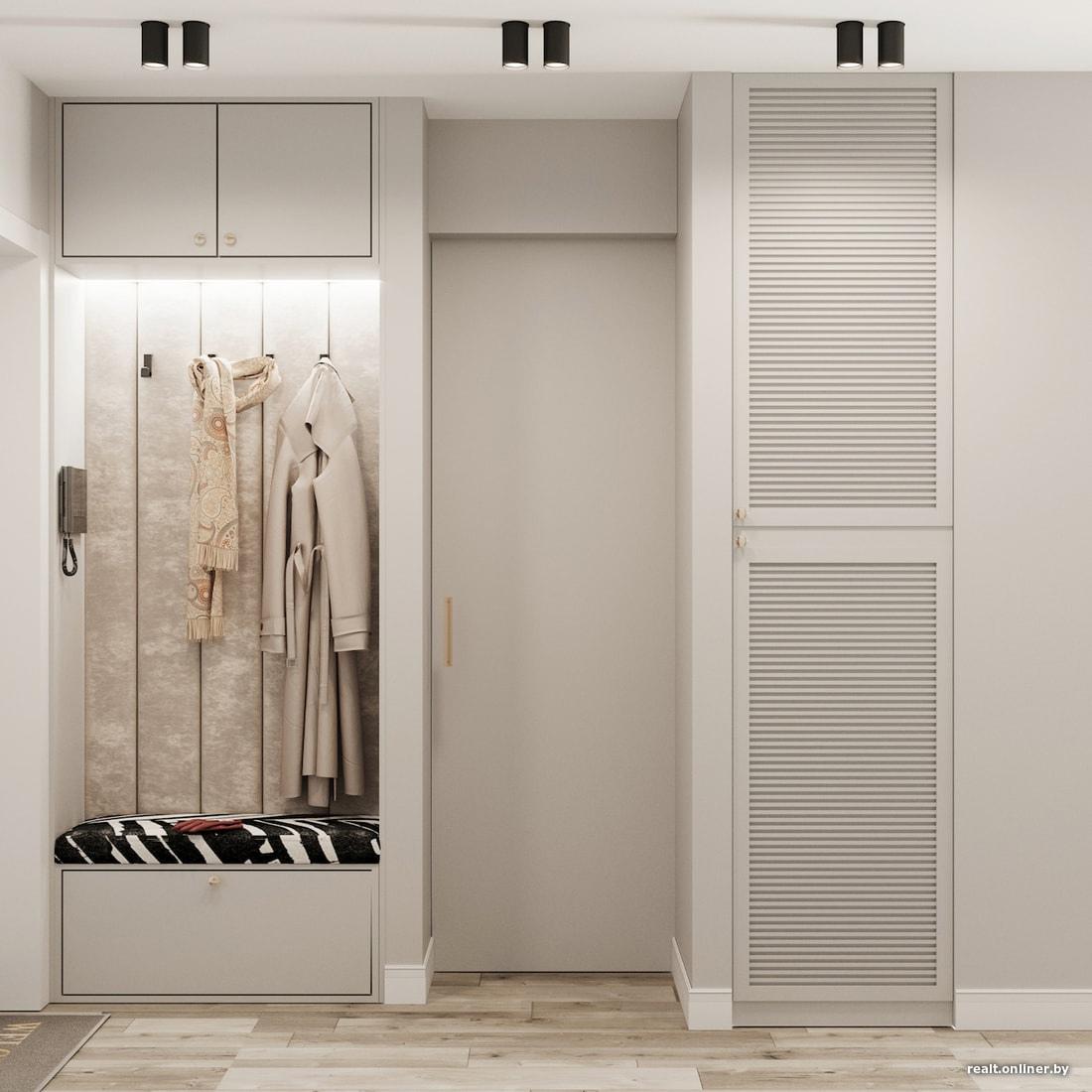 Концепт маленькой студии 12,5-12,9 м с откидной кроватью-диваном и скрытой кухней.
