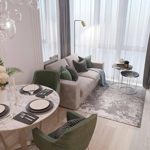Роскошная кухня - гостиная с панорамным остеклением????