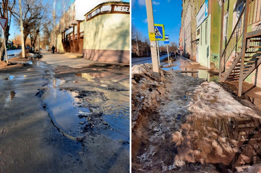 Жители города Кимры вынуждены переходить улицы вброд