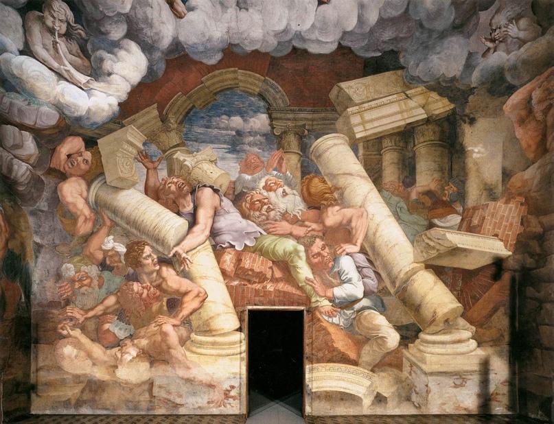 Падение гигантов с горы Олимп - Джулио Романо. Палаццо дель Те, Мантуя, Италия. 1530-1532.