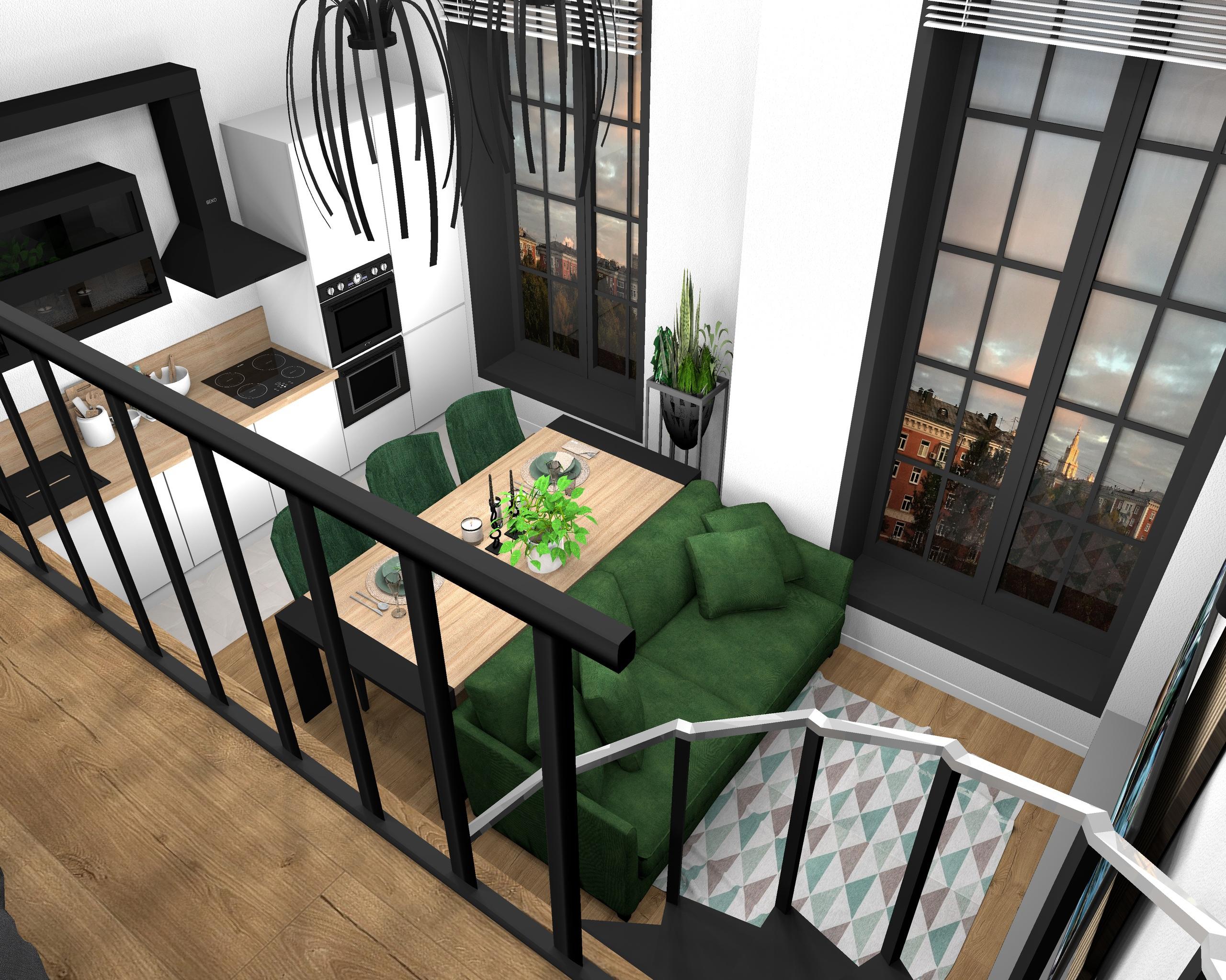 Двухуровневая квартира, площадь первого уровня 33 м2 , площадь второго уровня 14 м2 , высота потолков 4,6 м.
