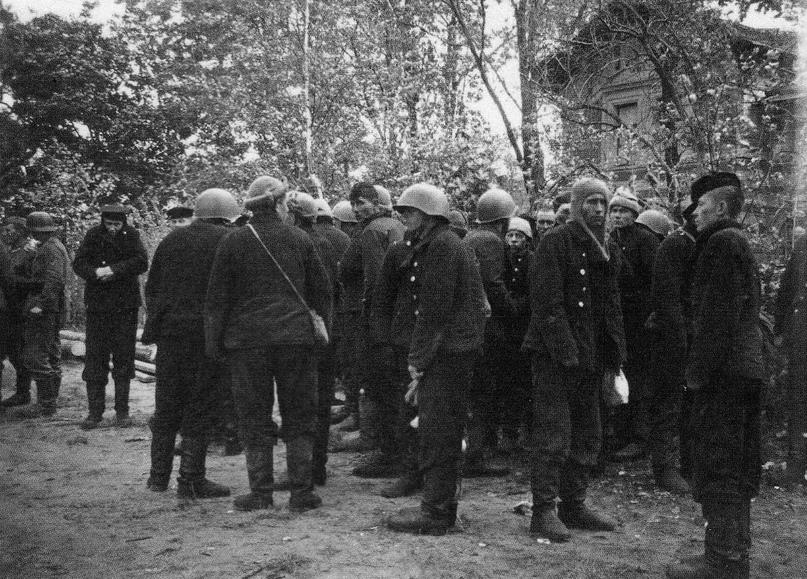 Пленные моряки-десантники у Служебного дома Нижней дачи в парке Александрия. 5 октября 1941 г. ГМЗ «Петергоф»