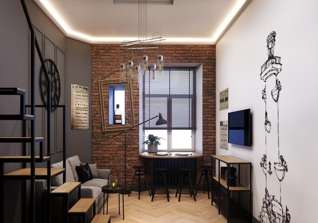 Проект апартаментов с кроватью на втором уровне.