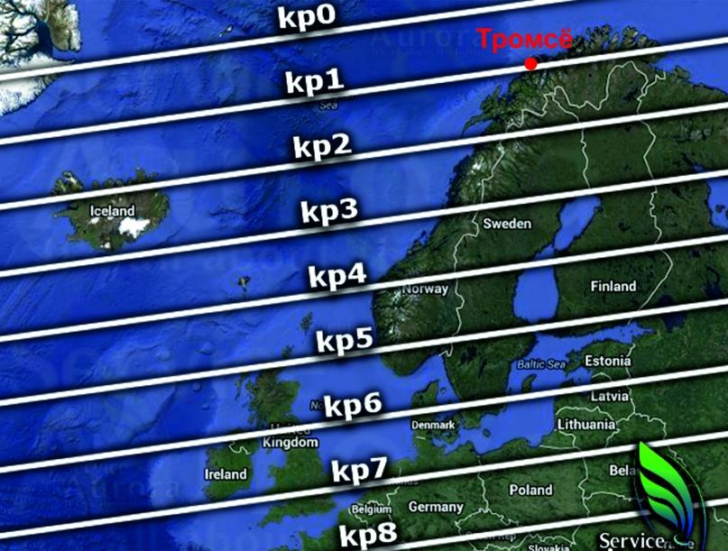Расширение аврорального овала с увеличением планетарного Kp-индекса (с сайта Aurora Forecast Service)