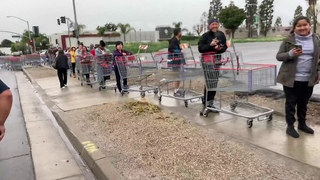 Coronavirus outbreak causes extreme lines at Costco in Cypress California
