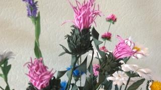 МК  чертополох из фоамирана для букета полевых цветов