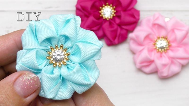 Цветы из репсовых лент Amazing ribbon flower DIY