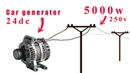 How to turn a 24v car generator to 250v