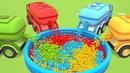 Учим цвета с машинами - помощниками. Мультфильм на английском языке.