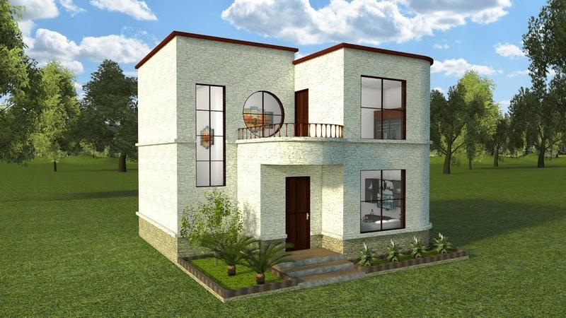 Planos Casa Moderna 2 Pisos jardinería lavandería 3 dormitorios 2 baños salacomedor Cocina Grande