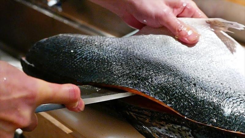 Japanese Food FISH CUTTING SKILLS Salmon Mackerel Squid Sushi Kyoto Seafood Japan