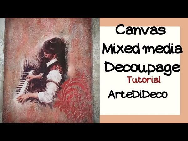 Ντεκουπάζ και mixed media σε καμβά Πάστες ακρυλικά χρώματα και στένσιλ CC