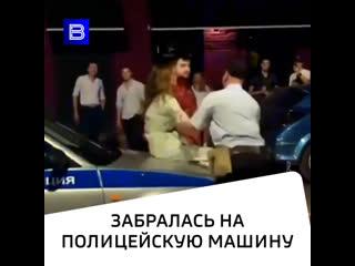 Девушка взобралась на полицейское авто