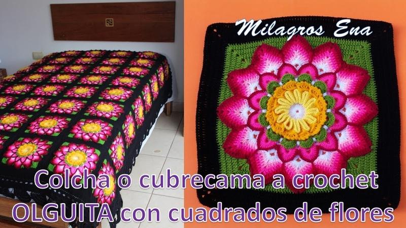 Colcha o cubrecama a crochet OLGUITA con cuadrados de flores paso a paso en video tutorial