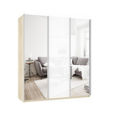 Шкаф Прайм 3-х дверный (Зеркало/Белое стекло) ш 2100